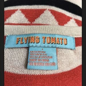 Flying Tomato Dresses - FLYING TOMATO Sweater Dress Aztec Red Boho Scoop